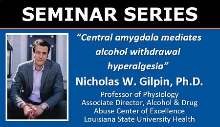 UF CARE Seminar 3/17/2021 at 3pm: Nicholas Gilpin, Ph.D., Professor of Physiology, LSU Health