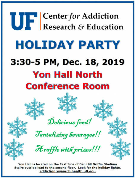 UF CARE Holiday Party December 18, 3:30 to 5 PM, Yon Hall North Conference Room